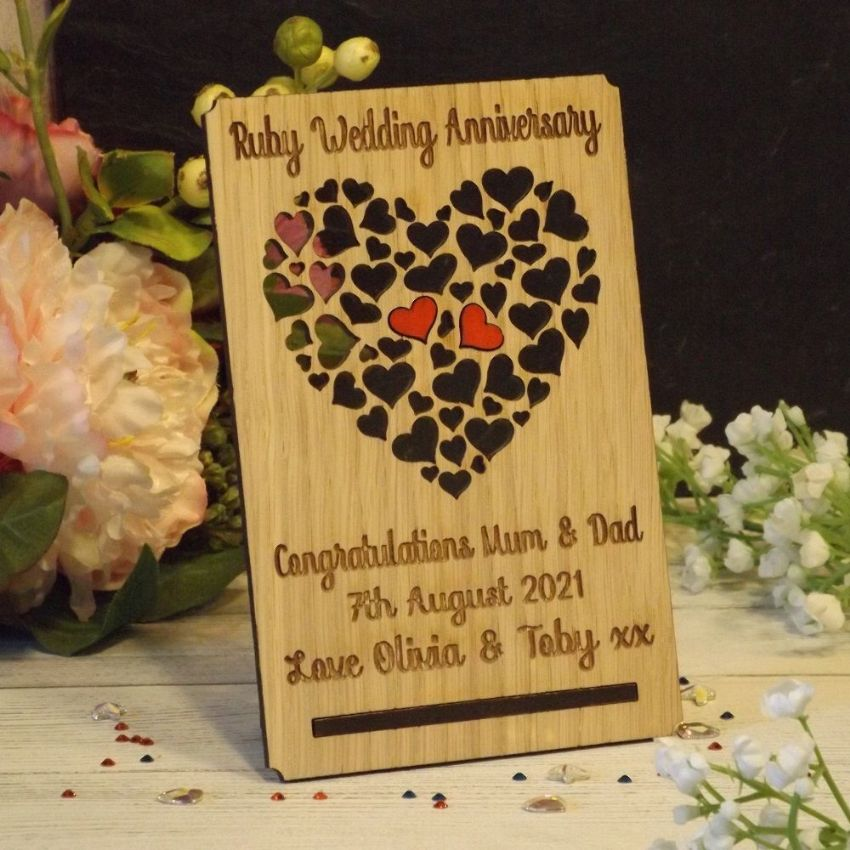 Personalised 40th Ruby Wedding Anniversary, Filigree Hearts Card Plaque Gift